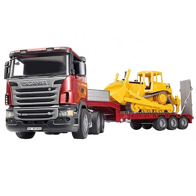 Scania R Series Low Loader Truck With Cat Bulldozer Bruder 03555