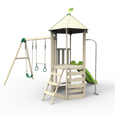 TP Castlewood Tower With Double Swing Arm, Slide And Swing Accessories